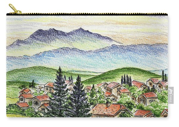 Cozy Little Village In The Mountains Carry-all Pouch