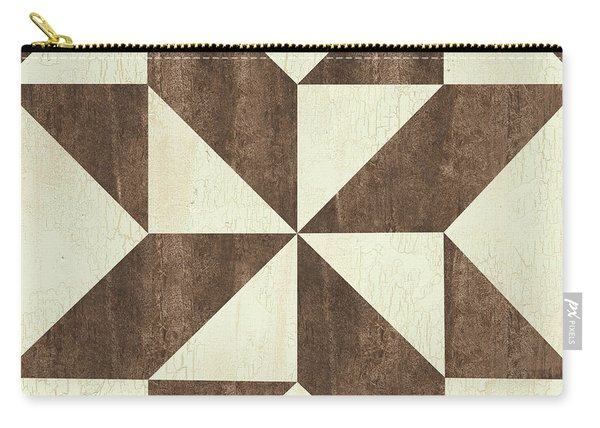 Cream And Brown Quilt Carry-all Pouch