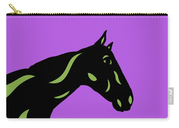 Crimson - Pop Art Horse - Black, Greenery, Purple Carry-all Pouch