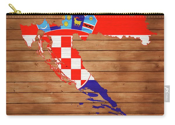 Croatia Rustic Map On Wood Carry-all Pouch
