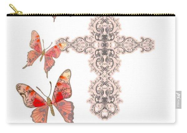 Cross Born Again Christian Inspirational Butterfly Butterflies Carry-all Pouch