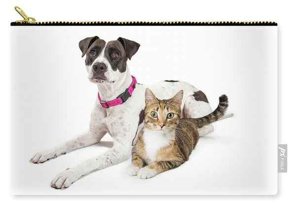 Crossbreed Dog And Tabby Cat Lying Down Together Carry-all Pouch