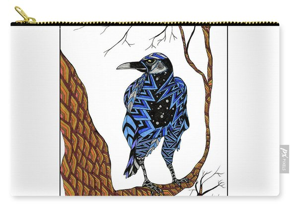 Carry-all Pouch featuring the drawing Crow by Barbara McConoughey