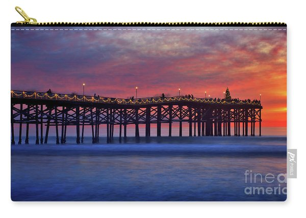 Carry-all Pouch featuring the photograph Crystal Pier In Pacific Beach Decorated With Christmas Lights by Sam Antonio Photography