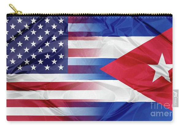 Carry-all Pouch featuring the photograph Cuba And Usa Flags by Benny Marty