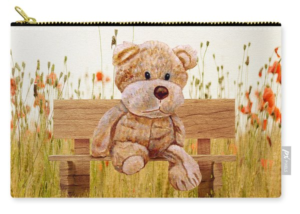 Carry-all Pouch featuring the mixed media Cuddly In The Garden by Angeles M Pomata