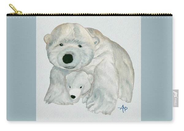 Carry-all Pouch featuring the painting Cuddly Polar Bear Watercolor by Angeles M Pomata