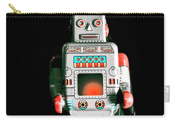 Cute 1970s Robot On Black Background Carry-all Pouch