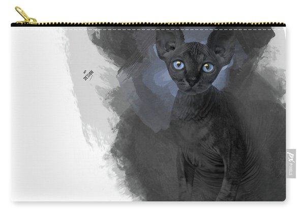 Cute Black Blue-eyed Sphynx Looking At You Carry-all Pouch