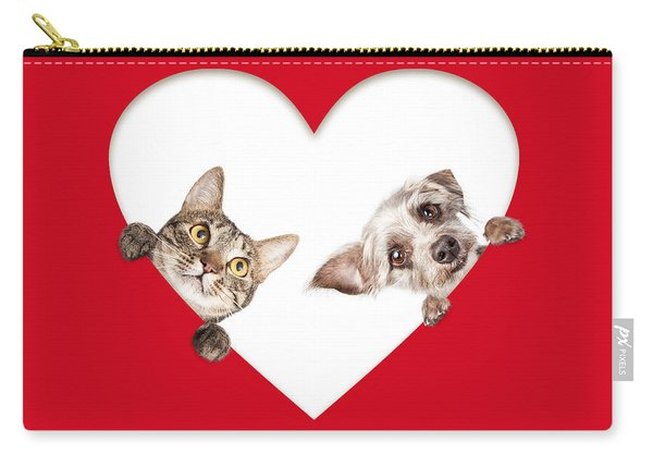Cute Cat And Dog Peeking Out Of Cutout Heart Carry-all Pouch