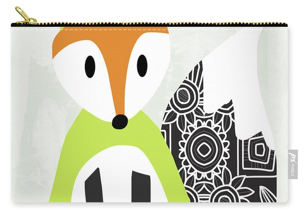 Cute Green And Black Fox- Art By Linda Woods Carry-all Pouch