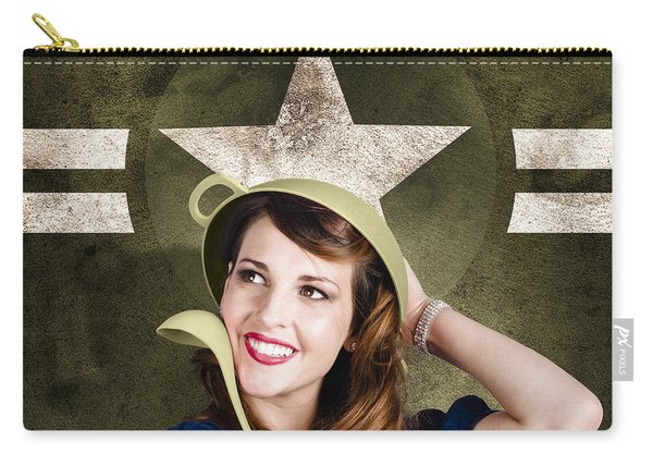 Cute Military Pin-up Woman On Army Star Background Carry-all Pouch