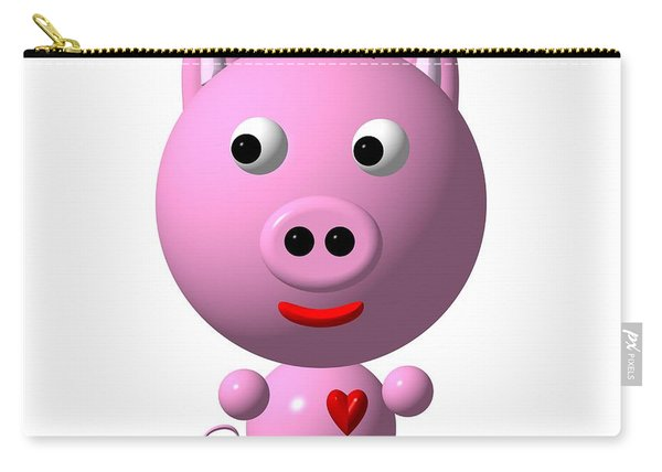 Cute Pink Pig With Purple Bow Carry-all Pouch
