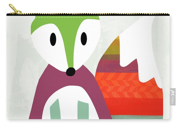 Cute Purple And Green Fox- Art By Linda Woods Carry-all Pouch