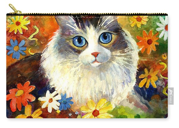 Cute Ragdoll Tubby Cat In Flowers Carry-all Pouch