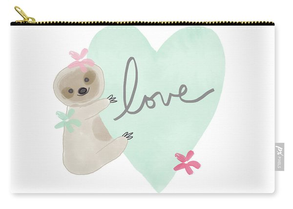 Cute Sloth With Heart- Art By Linda Woods Carry-all Pouch