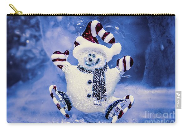 Cute Snowman In Ice Skates Carry-all Pouch