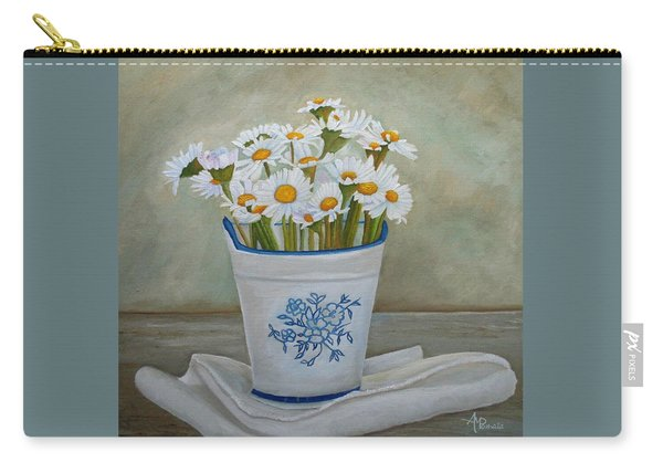 Carry-all Pouch featuring the painting Daisies And Porcelain by Angeles M Pomata