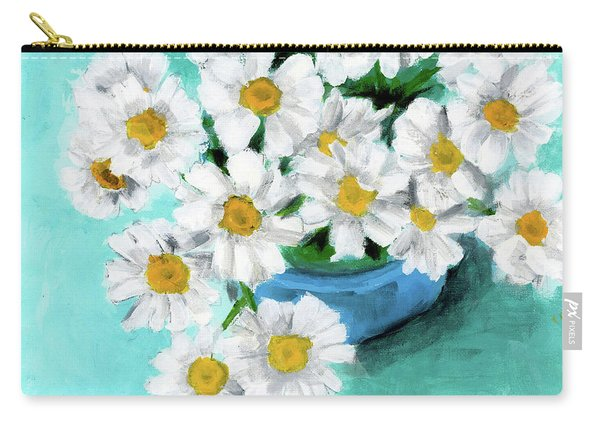 Daisies In Blue Bowl Carry-all Pouch