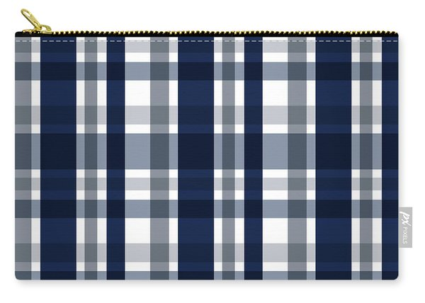 Dallas Sports Fan Navy Blue Silver Plaid Striped Carry-all Pouch