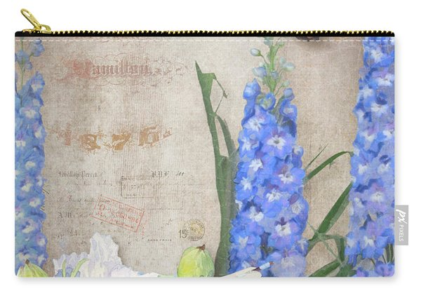 Dancing In The Wind - Damselfly N Morpho Butterfly W Delphinium Carry-all Pouch