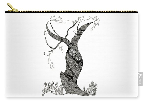 Carry-all Pouch featuring the drawing Dancing Tree by Barbara McConoughey