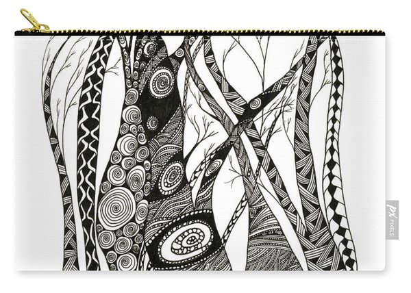 Carry-all Pouch featuring the drawing Dancing Trees by Barbara McConoughey