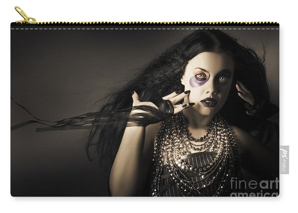 Dark Beauty Woman. Rich Jewellery And Black Nails Carry-all Pouch