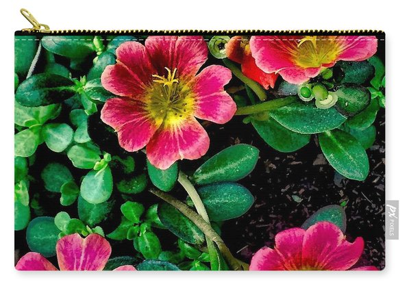 Dark Pink Purselane Flowers Carry-all Pouch