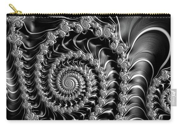 Dark Spirals - Fractal Art Black Gray White Carry-all Pouch
