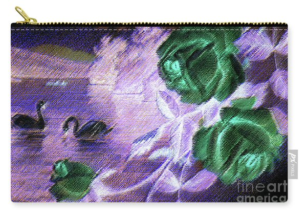 Dark Swan And Roses Carry-all Pouch