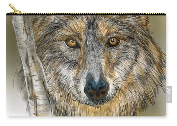 Dark Wolf With Birch Carry-all Pouch