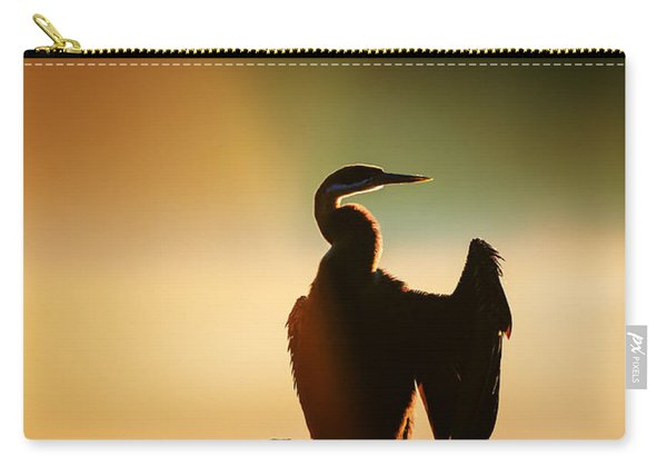 Darter Bird With Misty Sunrise Carry-all Pouch