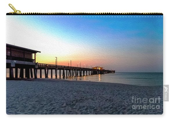 Dawn At Gulf Shores Pier Al Seascape 1283a Digital Painting Carry-all Pouch