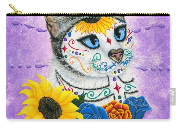 Day Of The Dead Cat Sunflowers - Sugar Skull Cat Carry-all Pouch