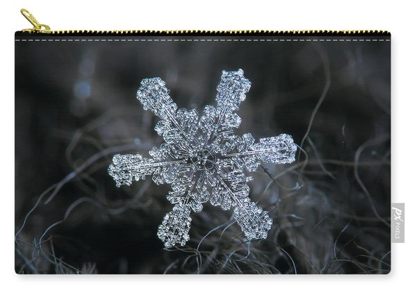 Carry-all Pouch featuring the photograph December 18 2015 - Snowflake 1 by Alexey Kljatov