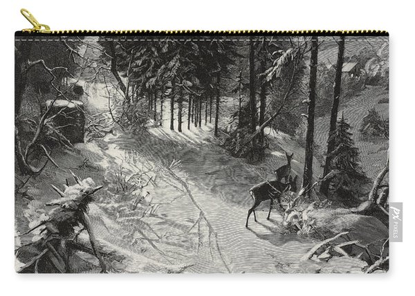 December Night Snow Covered Wood Carry-all Pouch