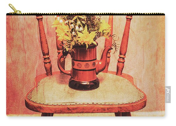Decorated Flower Bunch On Old Wooden Chair Carry-all Pouch