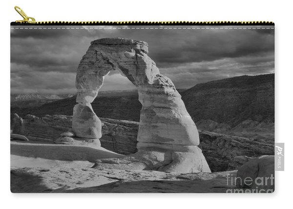 Delicate Arch Black And White Sunset Shadow Carry-all Pouch