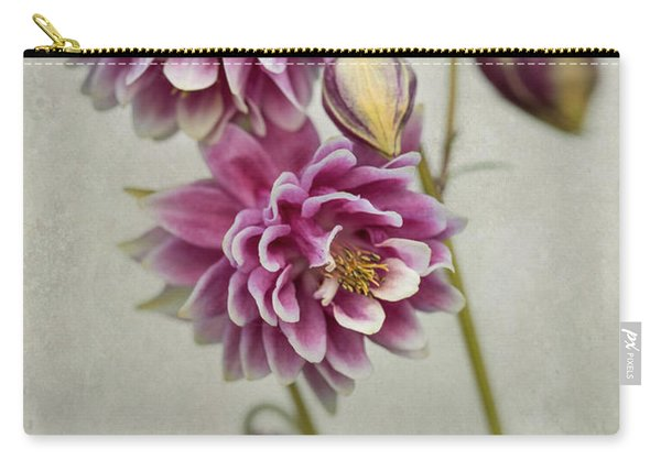 Carry-all Pouch featuring the photograph Delicate Pink Columbine by Jaroslaw Blaminsky