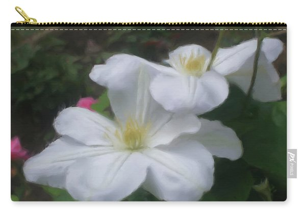 Delicate White Clematis Pair Carry-all Pouch