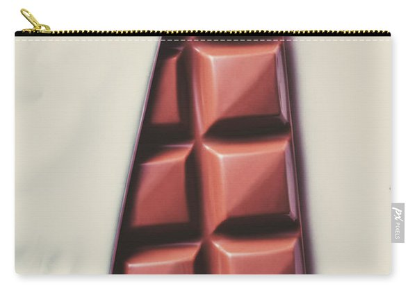 Delicious Chocolate Bar In Wrapping On Plate Carry-all Pouch