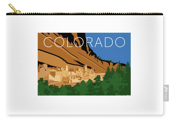 Carry-all Pouch featuring the digital art Mesa Verde Blue by Sam Brennan