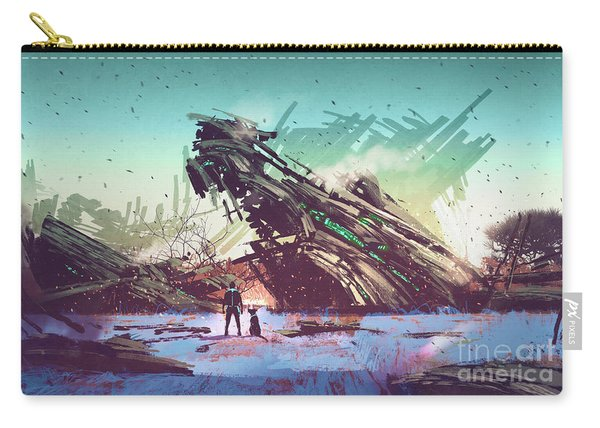 Carry-all Pouch featuring the painting Derelict Ship by Tithi Luadthong