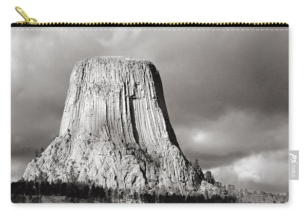 Devil's Tower Black And White Carry-all Pouch
