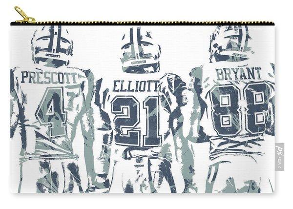 Dez Bryant Ezekiel Elliott Dak Prescott Dallas Cowboys Pixel Art Carry-all Pouch
