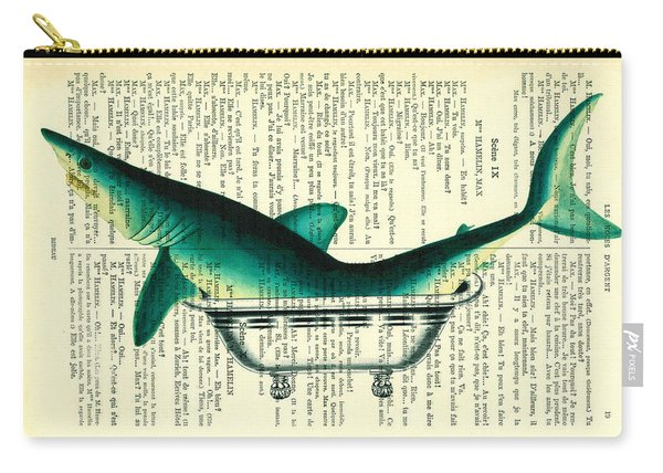 Shark In Bathtub Illustration On Dictionary Paper Carry-all Pouch