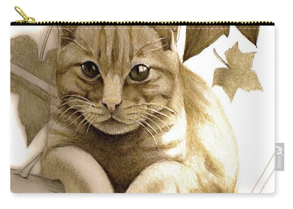 Digitally Enhanced Cat Image Carry-all Pouch