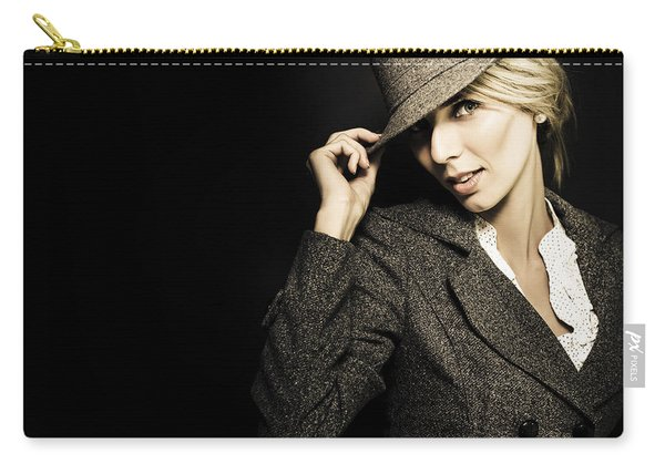 Discreet Woman In Vintage Fashion Carry-all Pouch