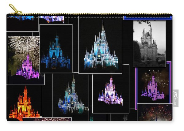 Disney Magic Kingdom Castle Collage Mp Carry-all Pouch